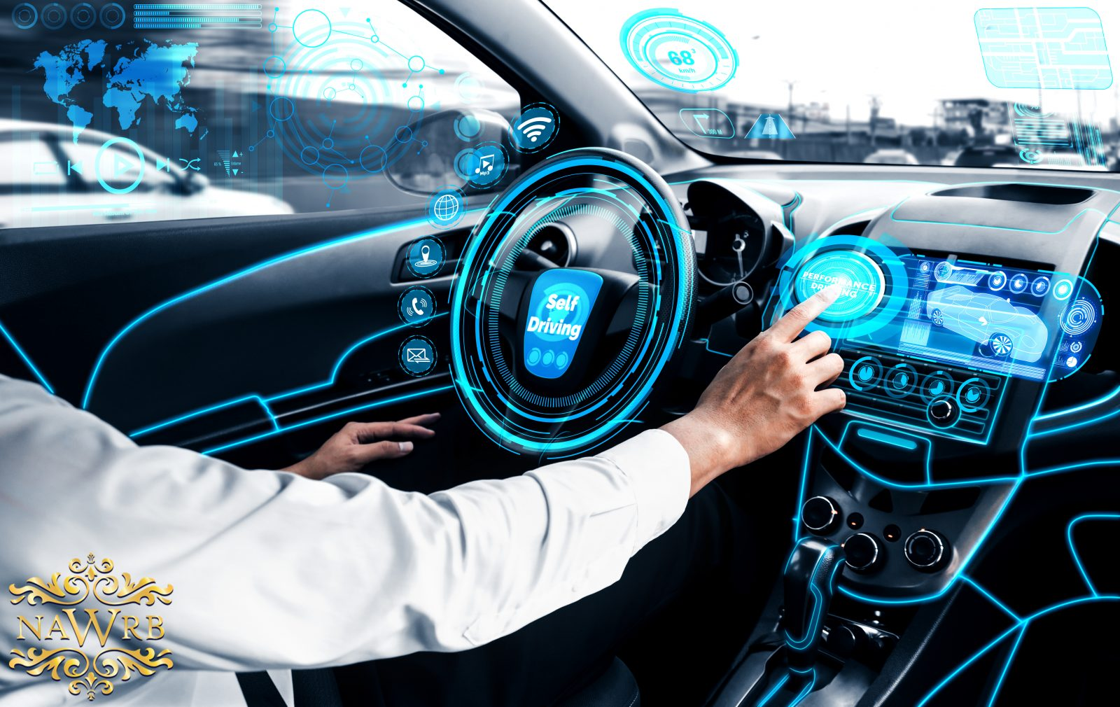 Self-driving autonomous car with relaxed young man sitting at dr